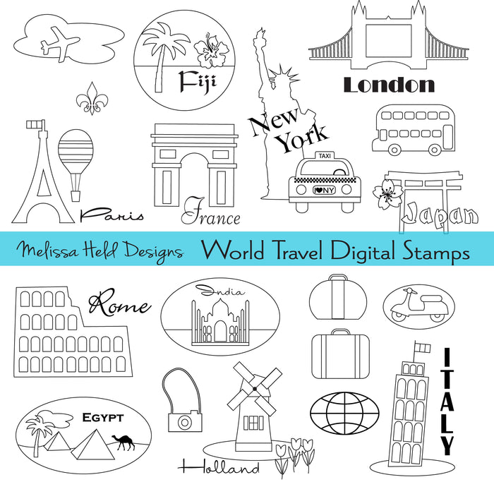 World Travel Digital Stamps Digital Stamps Melissa Held Designs    Mygrafico