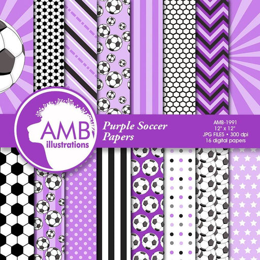 Sports Digital Paper, Purple Soccer Papers and Backgrounds, Football Digital Papers, Soccer Scrapbook Papers, Commercial Use, AMB-1991 Digital Paper & Backgrounds AMBillustrations    Mygrafico