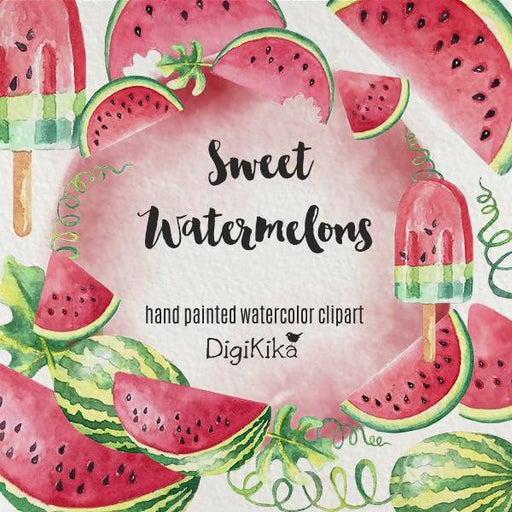 Watermelon Clipart, Hand Painted Watercolor - Fruit Clipart, Summer Wedding Invitation, Watermelon Graphics Cliparts DigiKika    Mygrafico