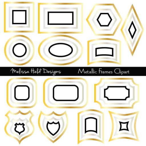 Metallic Frames Clipart Clipart & Digital Paper Melissa Held Designs    Mygrafico