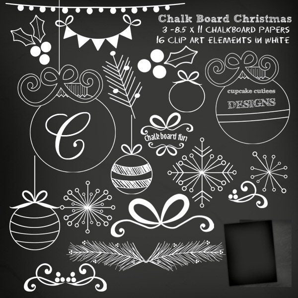 Chalkboard Christmas Digital Clip Art Elements Clipart Cupcake Cutiees    Mygrafico