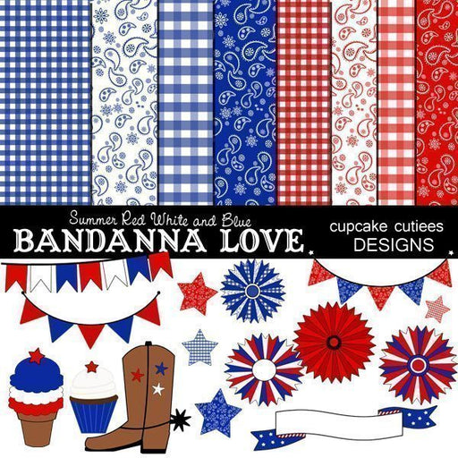 Summer Bandanna Paper Element Set  Cupcake Cutiees    Mygrafico