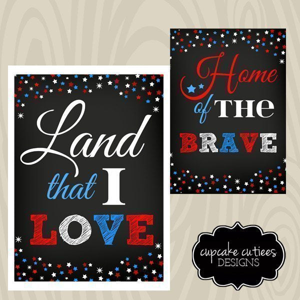 4th of July Digital Home Prints -5x7 Printable Templates Cupcake Cutiees    Mygrafico