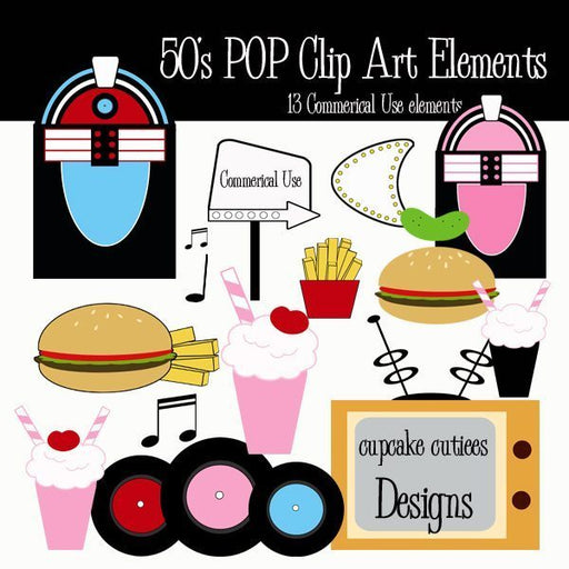 50's Pop Clip Art Elements  Cupcake Cutiees    Mygrafico