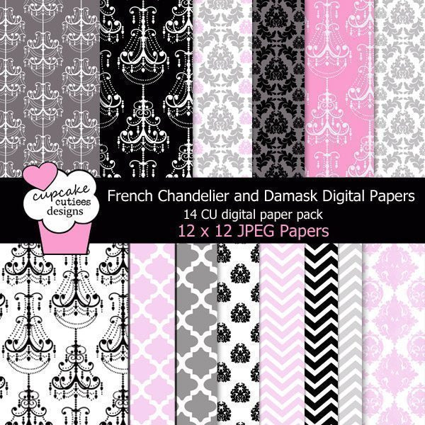 French Chandelier Papers  Cupcake Cutiees    Mygrafico