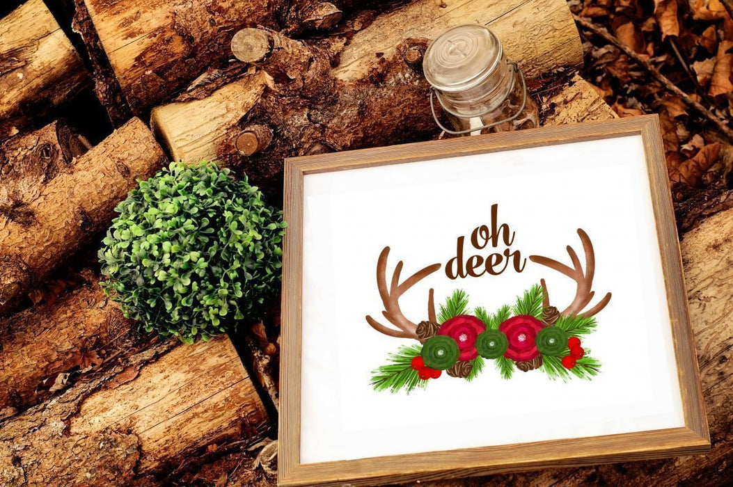 Oh Deer Christmas Holiday Wall Home Art Print Wall Art Cupcake Cutiees    Mygrafico