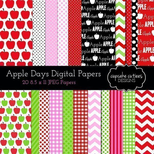 Apple Days Digital Paper Pack  Cupcake Cutiees    Mygrafico