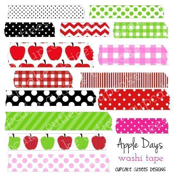 Apple Days Digital Washi Tape Clip Art  Cupcake Cutiees    Mygrafico