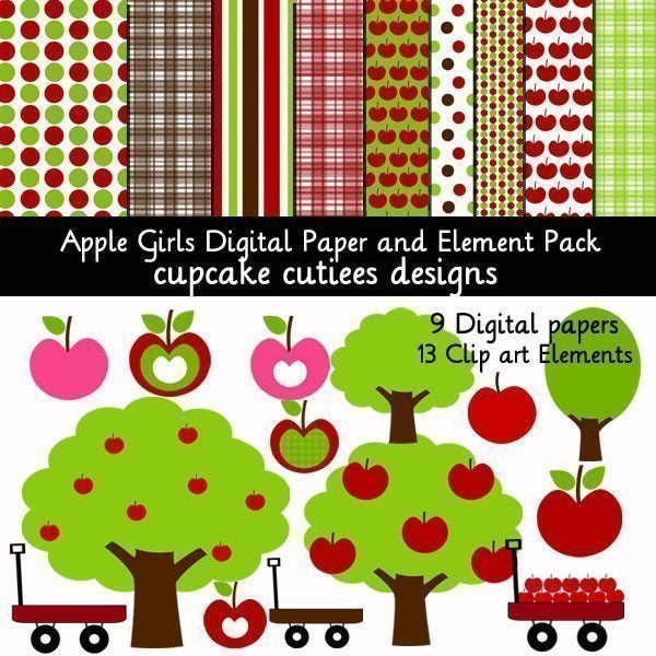 Apple Girls Papers and Elements  Cupcake Cutiees    Mygrafico