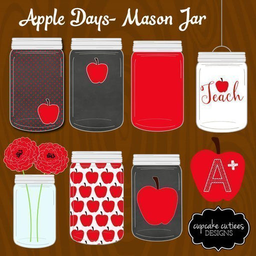 Mason Jar- Digital Apple School Clip Art  Cupcake Cutiees    Mygrafico