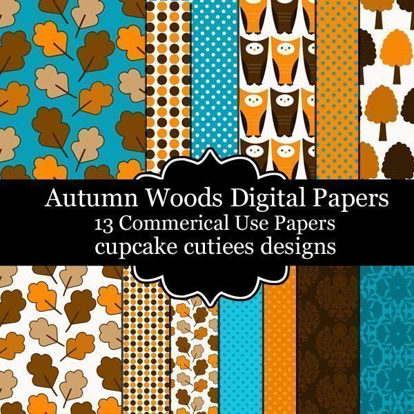 Autumn Woods Papers  Cupcake Cutiees    Mygrafico