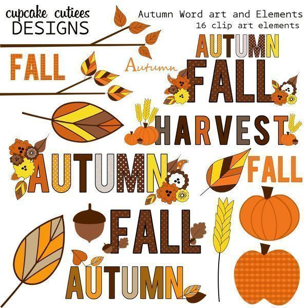 Autumn Word Art Elements  Cupcake Cutiees    Mygrafico