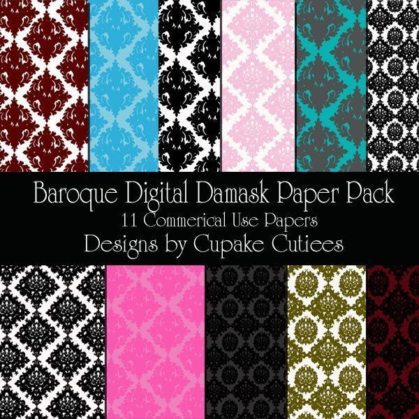 Baroque Damask Paper Pack  Cupcake Cutiees    Mygrafico