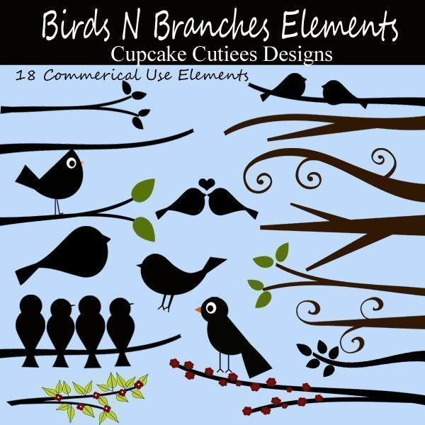 Birds and Branches Elements  Cupcake Cutiees    Mygrafico