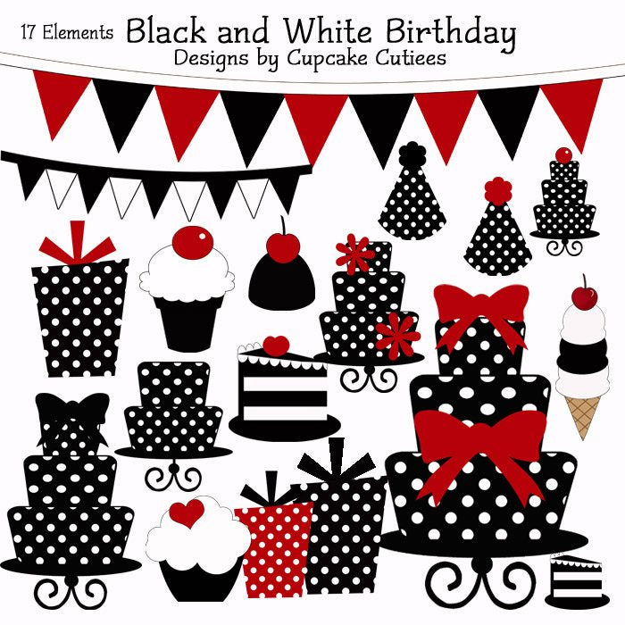 Black and White Birthday Elements  Cupcake Cutiees    Mygrafico