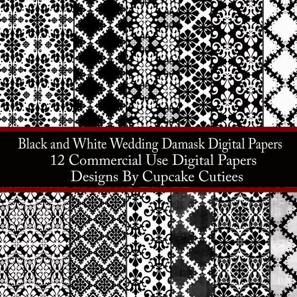 Black and White Wedding Damask Paper Set  Cupcake Cutiees    Mygrafico