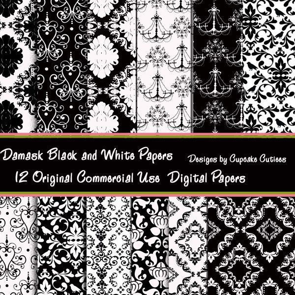 Black and white Damask Paper Set  Cupcake Cutiees    Mygrafico