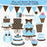 Blue and Brown Birthday Elements  Cupcake Cutiees    Mygrafico