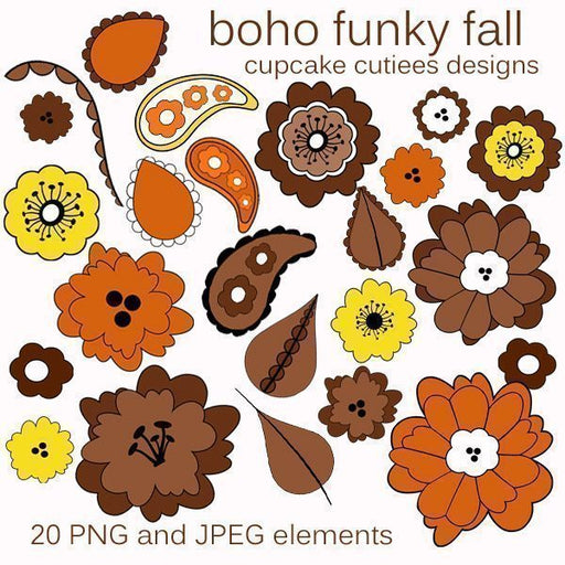 Boho Funky Fall Elements  Cupcake Cutiees    Mygrafico