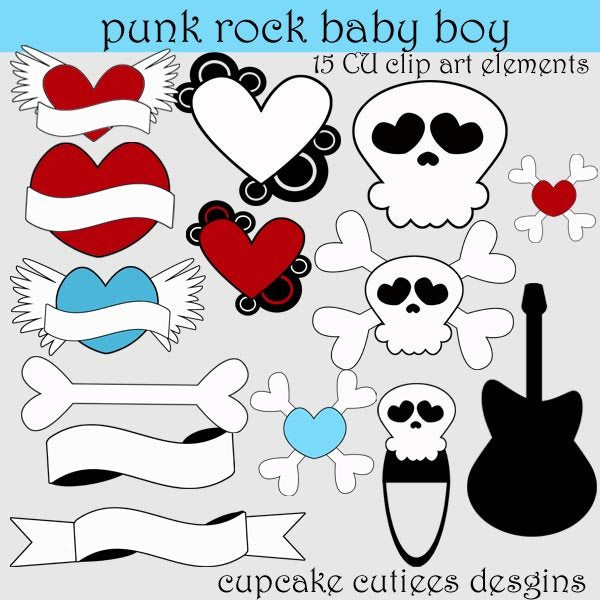Punk Rock Baby BOY  Cupcake Cutiees    Mygrafico