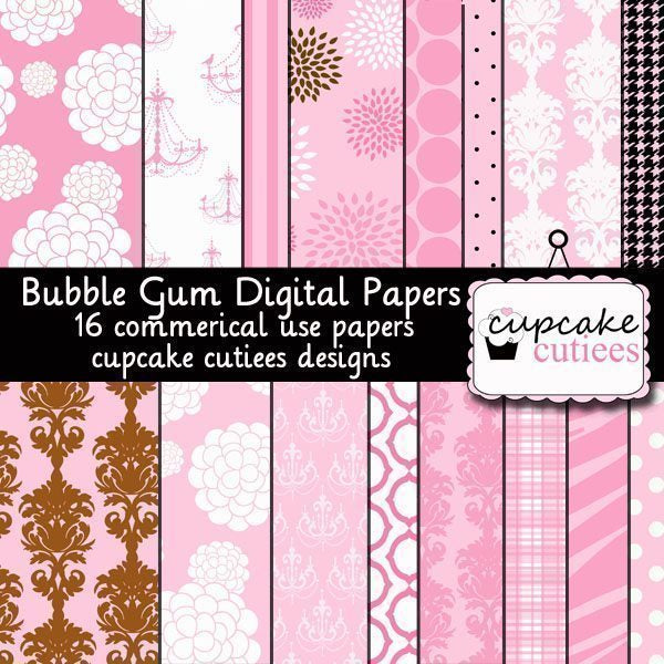 Bubble Gum Papers  Cupcake Cutiees    Mygrafico