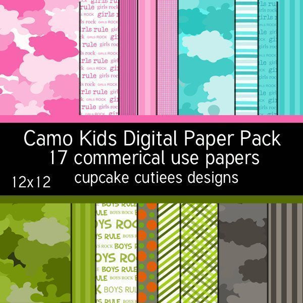 Camo Kids Papers  Cupcake Cutiees    Mygrafico