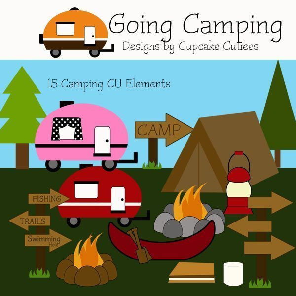 Camping Fun Elements Clipart Cupcake Cutiees    Mygrafico