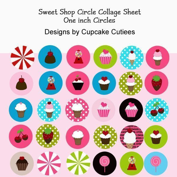 CandyShop One Inch Circles Printable Templates Cupcake Cutiees    Mygrafico