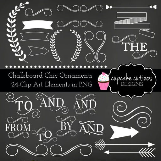 Chalkboard Chic Ornament Clip Art Set  Cupcake Cutiees    Mygrafico