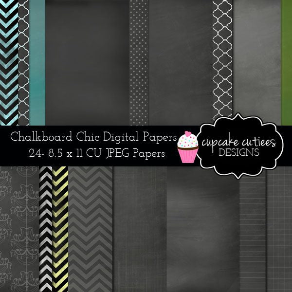 Chalkboard Chic Digital Paper Pack Digital Papers & Backgrounds Cupcake Cutiees    Mygrafico
