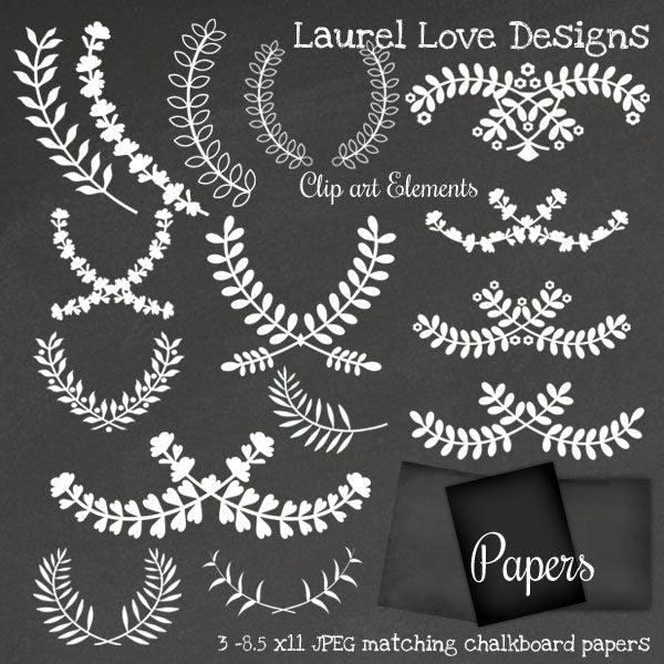 Laurel Chalkboard Digital Clip Art Set  Cupcake Cutiees    Mygrafico