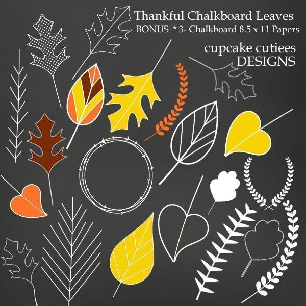 Chalkboard Autumn Leaves  Cupcake Cutiees    Mygrafico