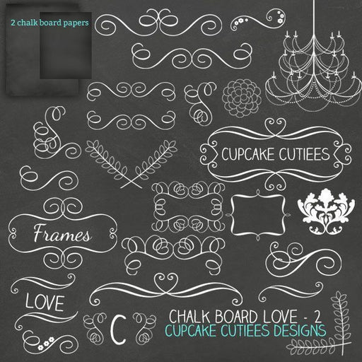 Chalkboard Love Clip Art TWO Clipart Cupcake Cutiees    Mygrafico