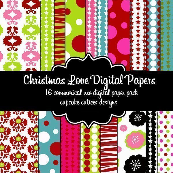 Christmas Love Papers  Cupcake Cutiees    Mygrafico