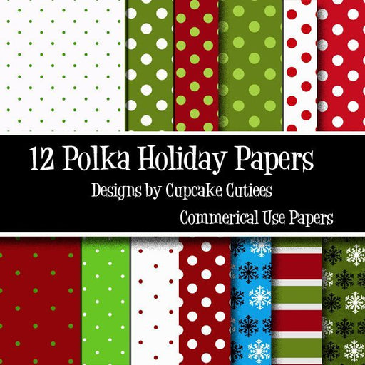 Christmas Holiday Polka Paper Pack of 12  Cupcake Cutiees    Mygrafico