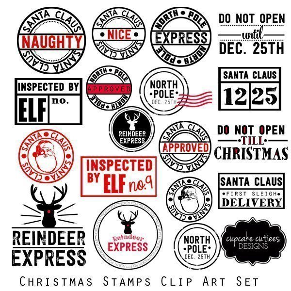 Santa Digital Stamps and Clip art Elements  Cupcake Cutiees    Mygrafico