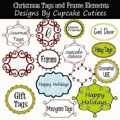 Christmas Tags and Frames  Cupcake Cutiees    Mygrafico