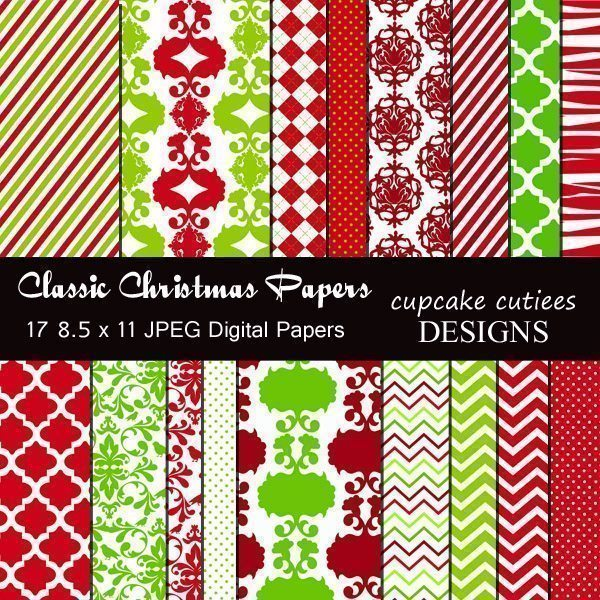 Classic Christmas Papers  Cupcake Cutiees    Mygrafico
