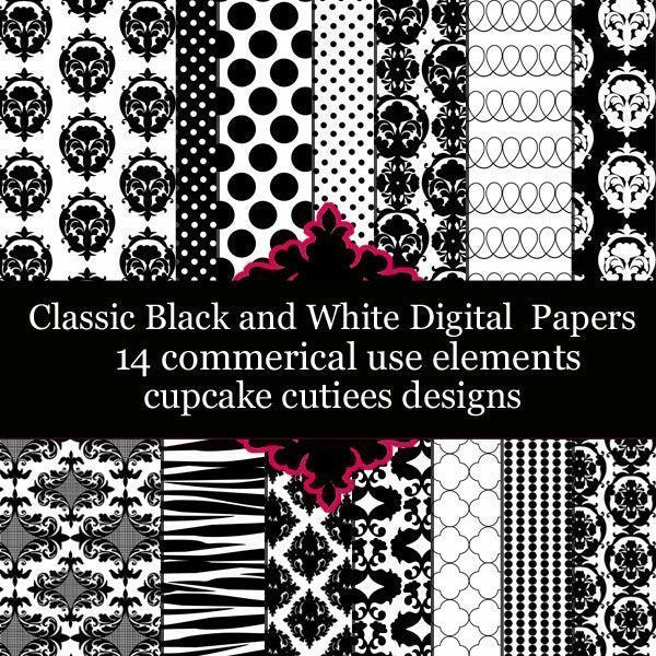Classic Black and White Damask  Cupcake Cutiees    Mygrafico