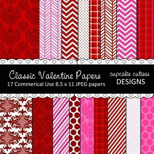 Classic Valentine Papers  Cupcake Cutiees    Mygrafico