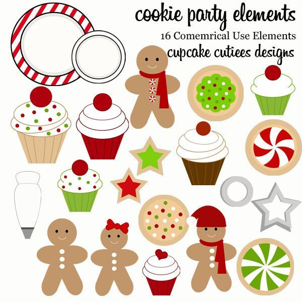 Cookie Party Clipart Elements  Cupcake Cutiees    Mygrafico