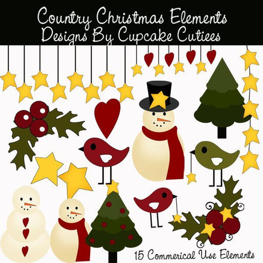 Country Christmas Elements  Cupcake Cutiees    Mygrafico