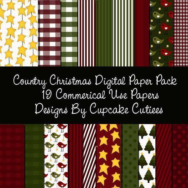 Country Christmas Papers  Cupcake Cutiees    Mygrafico