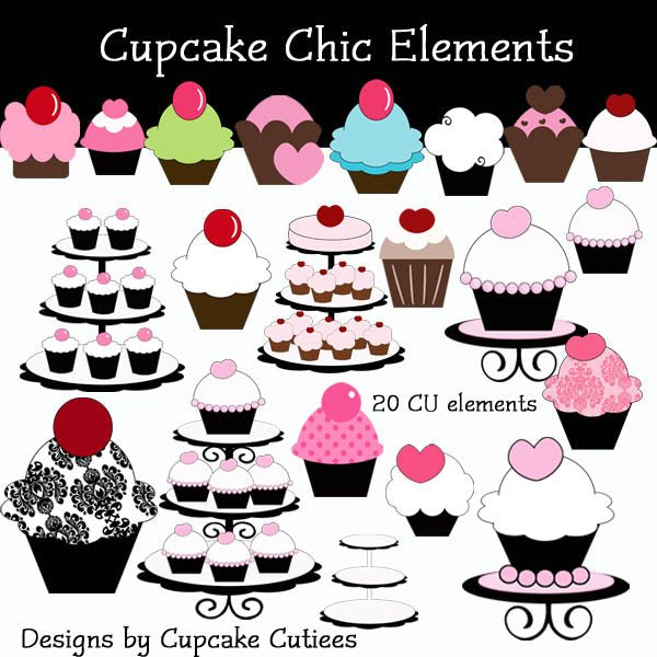 Cupcake Chic Elements  Cupcake Cutiees    Mygrafico