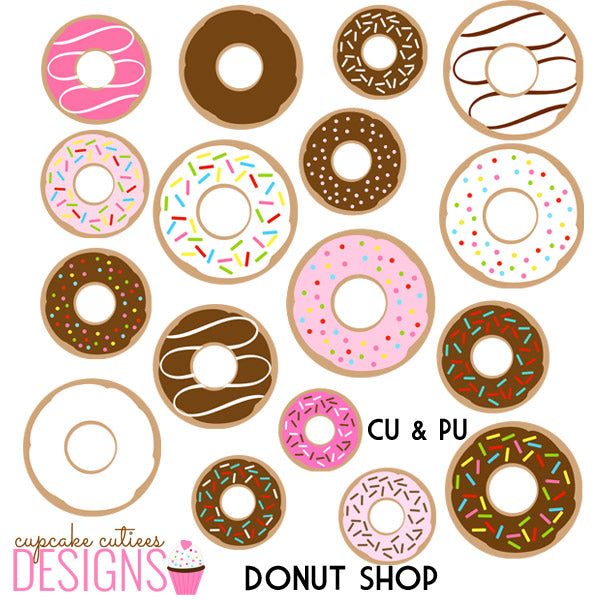Donut Shop Party Digital Clip Art Set  Cupcake Cutiees    Mygrafico