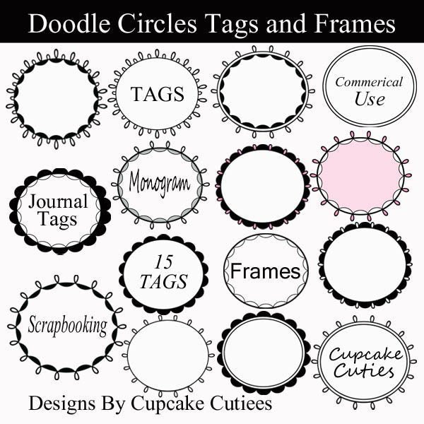 Doodle Sweet Circles Tags and Frames  Cupcake Cutiees    Mygrafico