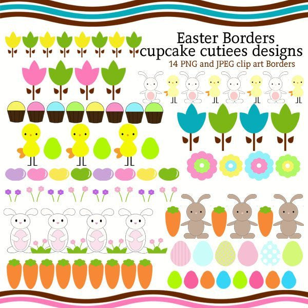 Easter and Spring Borders  Cupcake Cutiees    Mygrafico
