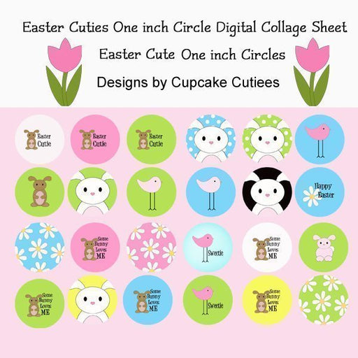 Easter Cuties One inch Circle Digital Collage Sheet  Cupcake Cutiees    Mygrafico