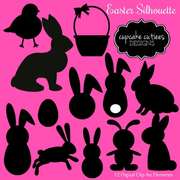 Easter Silhouette Digital Clip Art Set  Cupcake Cutiees    Mygrafico