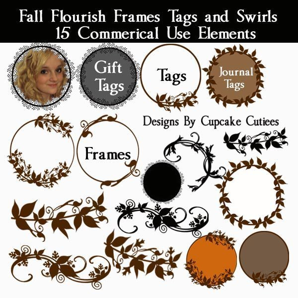 Fall Flourish Frames Tags and Swirls  Cupcake Cutiees    Mygrafico